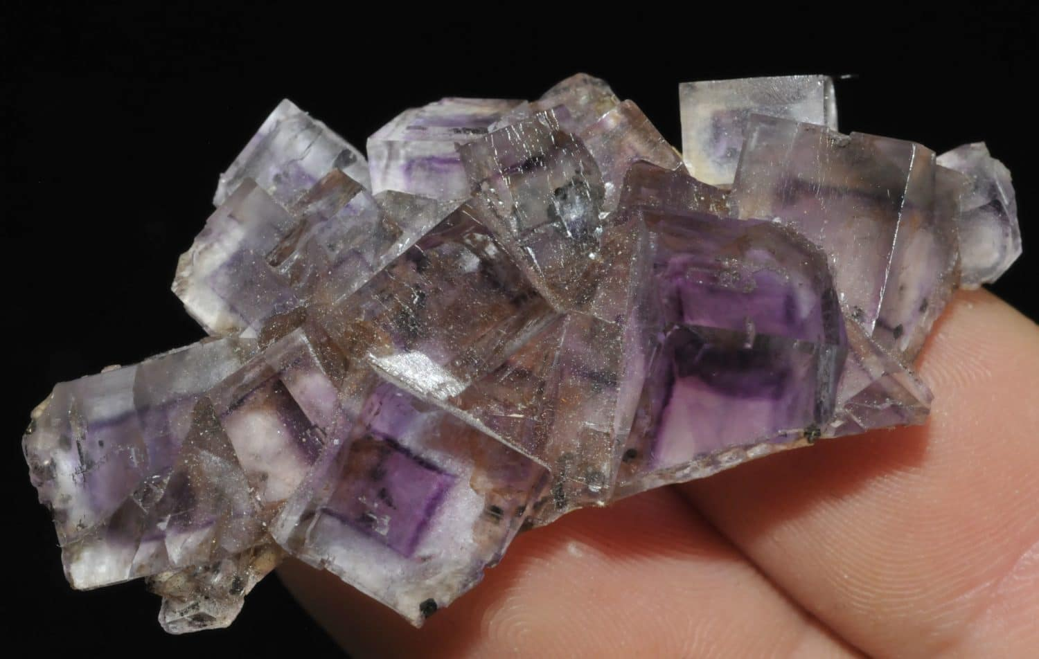 Purple fluorite with growth phantoms from Illinois (USA).